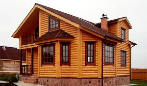Отделка фасада дома фальшбрусом